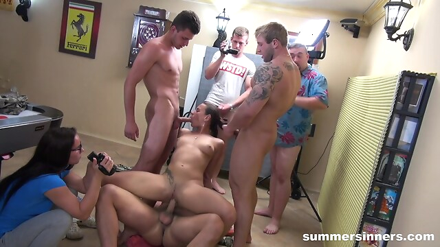 Tube Sex  - Nasty Slut Gangbang By All The Guys brunette
