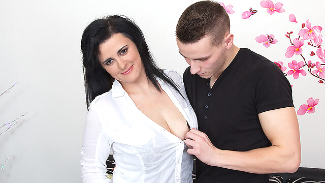 Tube Sex  - Horny Housewife Fucking And Sucking Her Younger Lover - MatureNL big tits