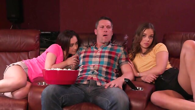 Tube Sex  - Liza Rowe And Lily Jordan In Threesome With Daddy During Movie brunette