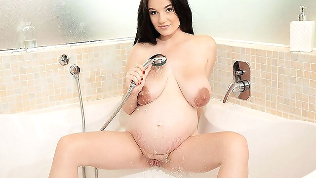 Tube Sex  - The Pregnant Busty Brunette & The Showerhead - Princess Angel - Scoreland big tits