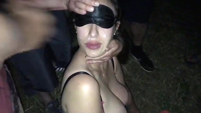 Tube Sex  - Trash dogging bukkake with many random strangers group sex