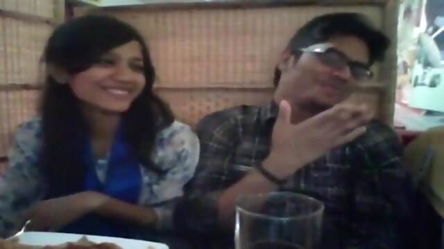 Tube Sex  - Desi pretty couple from Hyderabad being romantic in restaurant blowjob